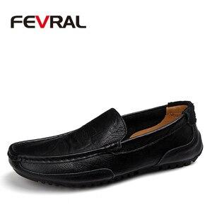 Image 1 - Fevral クラシック快適なローファー男性の靴の品質分割レザーシューズ男性フラッツホット販売モカシンプラスサイズ
