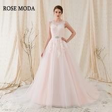 Rose Moda Gorgeous Lace Wedding Dress 2018 Rosa Bröllopsklänningar med Stunning Back Real Photos