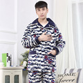 4XL Autumn Winter Blue CamouflageThick Coral Fleece Turn-down Collar Men Pajamas Sets Full Length Cotton Sleepwear Suits MQ