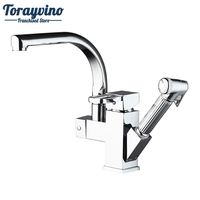 Torayvino Brass Kitchen Faucet Sink Mixer Tap With Pull Out Spray Swivel Spout Chrome Deck Mounted