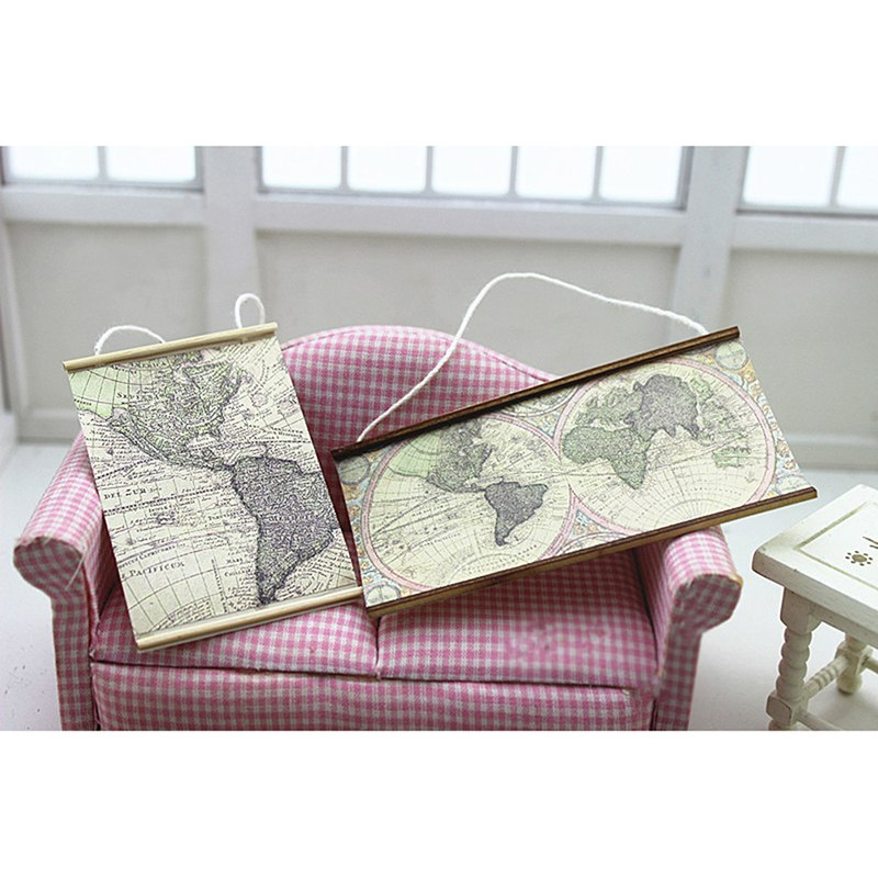 1/12 Dollhouse Miniature Accessories Mini World Map Simulation Furniture Model Toys For Doll House Decoration