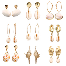 Summer Fashion Cowrie Sea Shell Earrings For Women Gold Color 2019 New Statement Conch Drop Jewelry