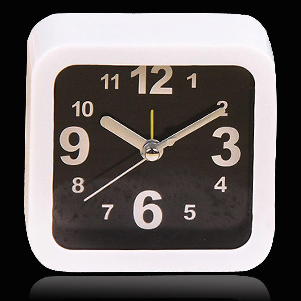 gosear small square alarm clock desk table desktop time clock simple style home office decoration reloj - Desk Clocks