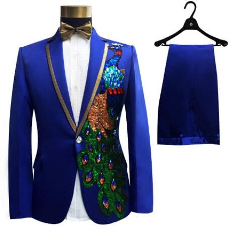 0282807a82216 S-4XL Men Suits Sequins Peacock Pattern Jacket Pants Slim Black Blue  Paillette Embroidered Male Singer Party Prom SUITS SET