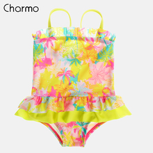 Charmo Baby Girls One Piece Swimsuits Floral Print Swimwear Ruffle Kids Bikini Adjustable Strap Cute Beach Wear One-Pieces Suit