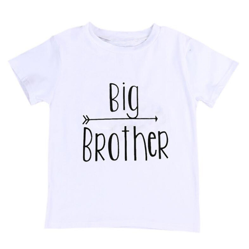 New Children Boys Summer T shirt Boys Clothes Big Brother Letter Printed T shirt Short Sleeve Kid White T shirt Cotton Tops D10 stylish plus size jewel collar half sleeve letter print t shirt for women