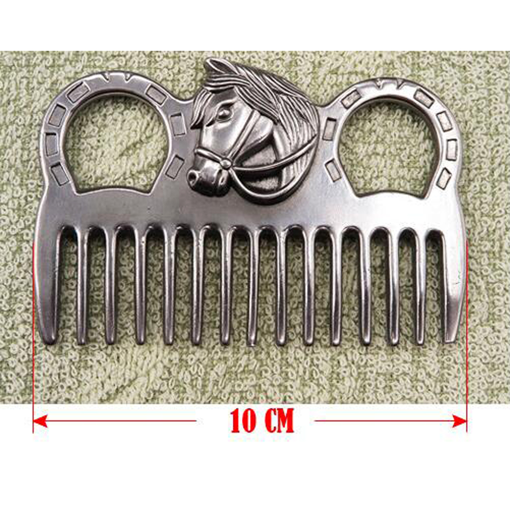 Stainless Steel Horse Pony Grooming Comb Tool  Metal Curry Brushing Cleaning Tool Equestrian