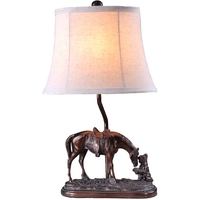Creative Chinese Style Hand Made Resin Horse Fabric Led E27 Table Lamp For Living Room Bedroom Study Deco H 65cm 80 265v 1220