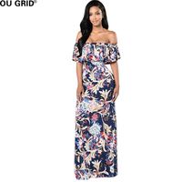 Vintage Print Long Dress 2017 Women Summer Slash Neck Sheath Ruffles Hem Off Shoulder Maxi Bodycon Club Sexy Dresses Vestidos