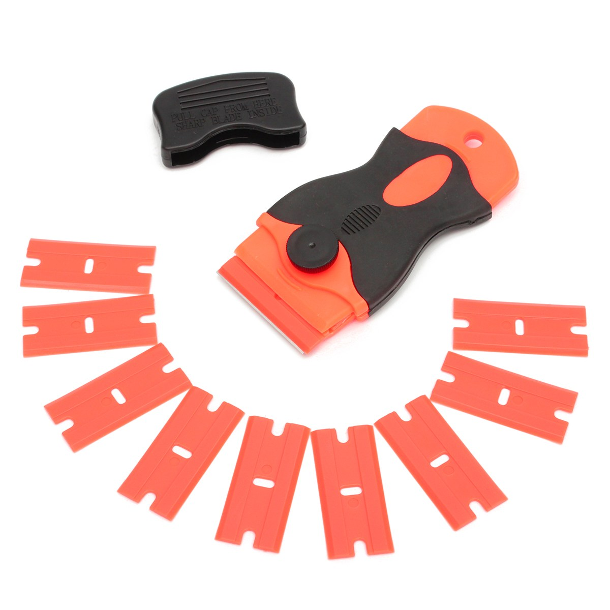10 Plastic Scraper & 10pcs Steel Blades Knife Tinting Tools Ice Scraper Car Squeegee Vinyl Film Stickers Covers Tool