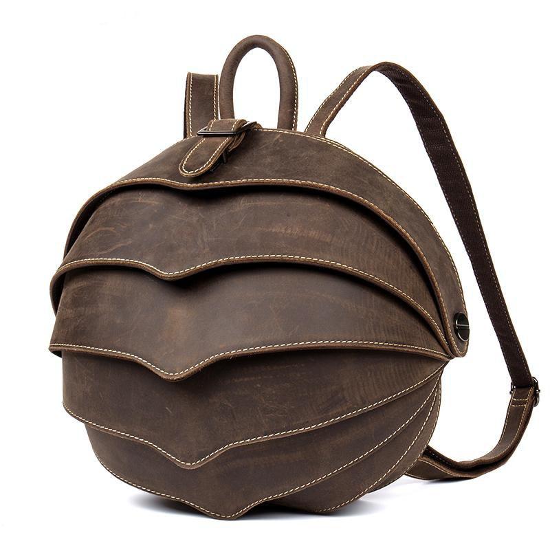 Brand Men Vintage Cowhide Genuine Leather Backpack Casual Flap Cover Backpack Retro beetle Travel Weekend Bag