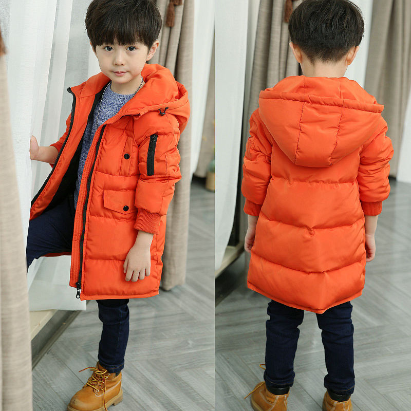 2018 Winter Boys Casual Long Thickening Cotton-Padded Clothes Puffer Coat Children Wadded Jacket Big Kids Outerwear Overcoat A53 long section men s wadded jacket fashion solid cotton padded clothes trench coat hooded jacket casual outerwear slim parka m 3xl