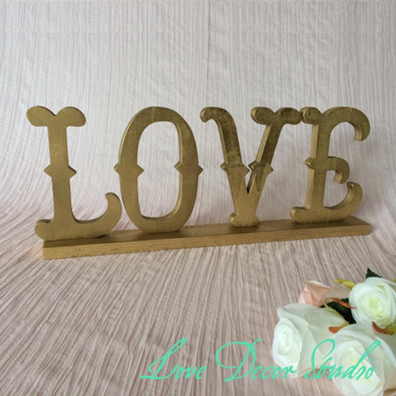 Home Decor LOVE Sign Made Of Wood Gold Silver Glittered Freestanding Love  MOdern In Party DIY