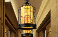 A1 Chinese Restaurant Hotel La Terrazza creative birdcage pendant lamp iron bar new classic antique parchment