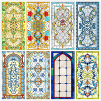 Custom size electrostatic frosted stained glass window film church home foil door stickers PVC self adhesive window films