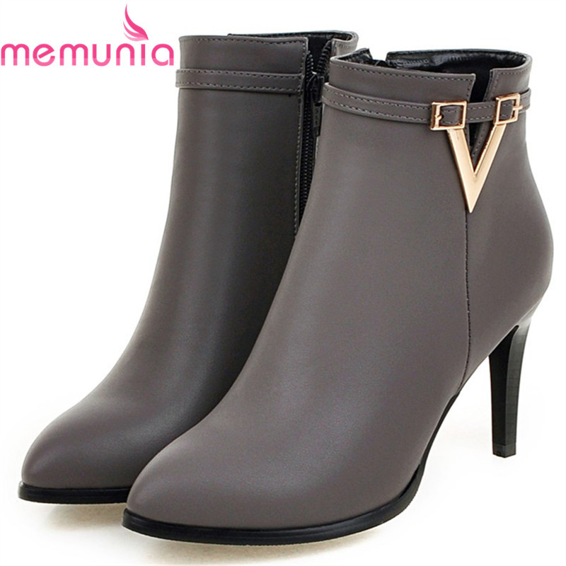 MEMUNIA Three colors ankle boots female fashion shoes sexy lady womens boots spring autumn high heels boots party PU zip