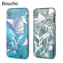 Boucho For iphone 6 6s 7 8 plus X Cases Plant Green Leaf Gold Line Phone Case For iphone XR XS MAX Transparent Protective Cover стоимость