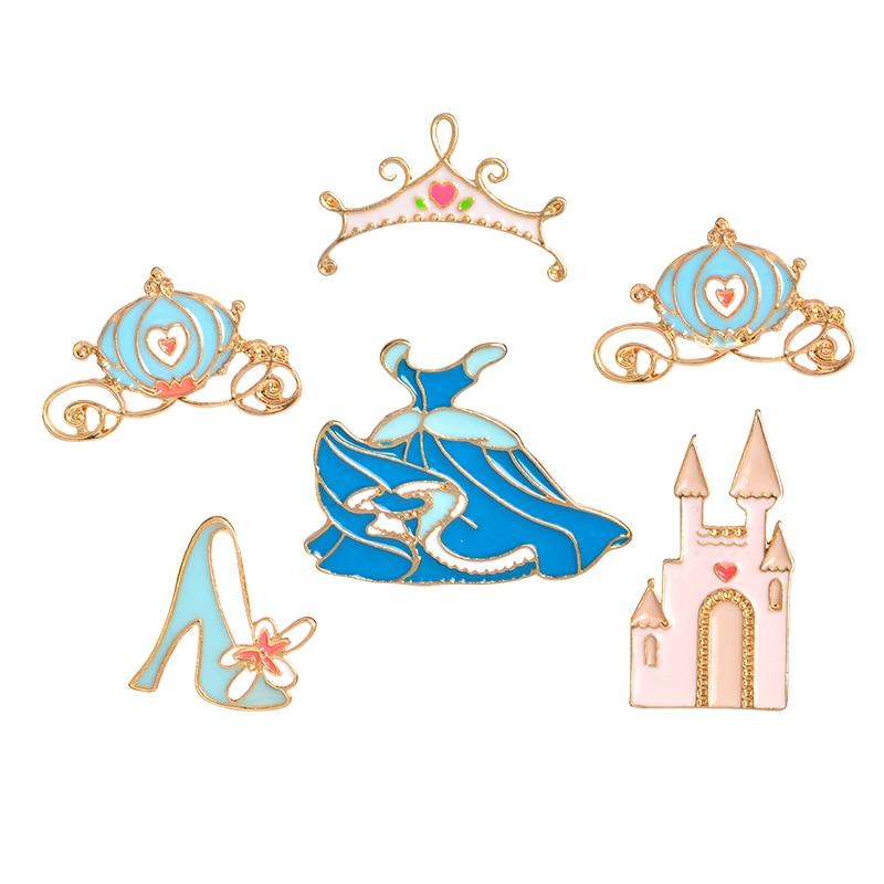 Cartoon Cinderella Pins Buckle Enamel Crystal shoe castle Pumpkin carriage Dress crown Brooch for Jacket Shirt Bag Badge Jewelry
