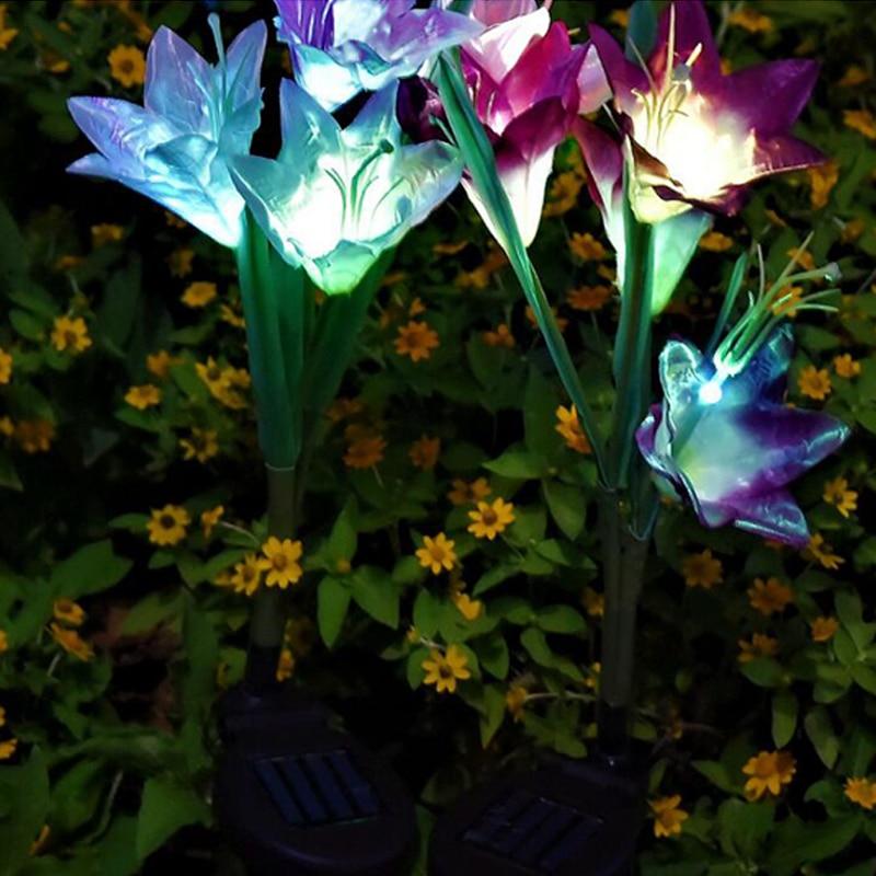 Solar Lights For Garden Decoration LED Solar Lamp Colorful Lily Flower Christmas Outdoor Lighting Waterproof Solar Light (6)