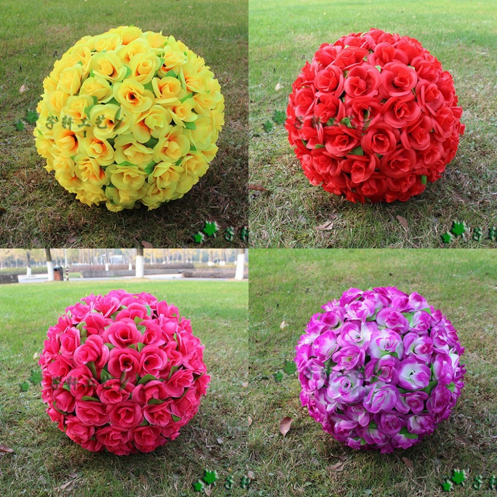 Silk christmas ornaments - 30 Cm 12 New Artificial Encryption Rose Silk Flower Kissing Balls Hanging Ball Christmas Ornaments Wedding Party Decorations