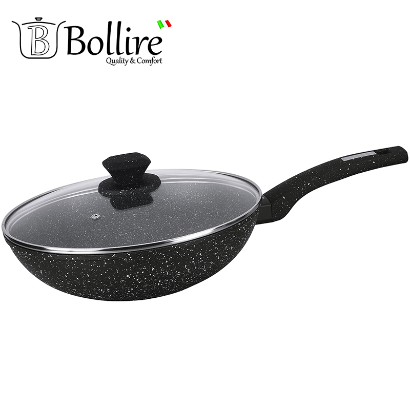 BR-1011 Pan WOK Bollire VENEZIA 28cm FULL INDUCTION BOTTOM Internal and external coating PFLUON Marble