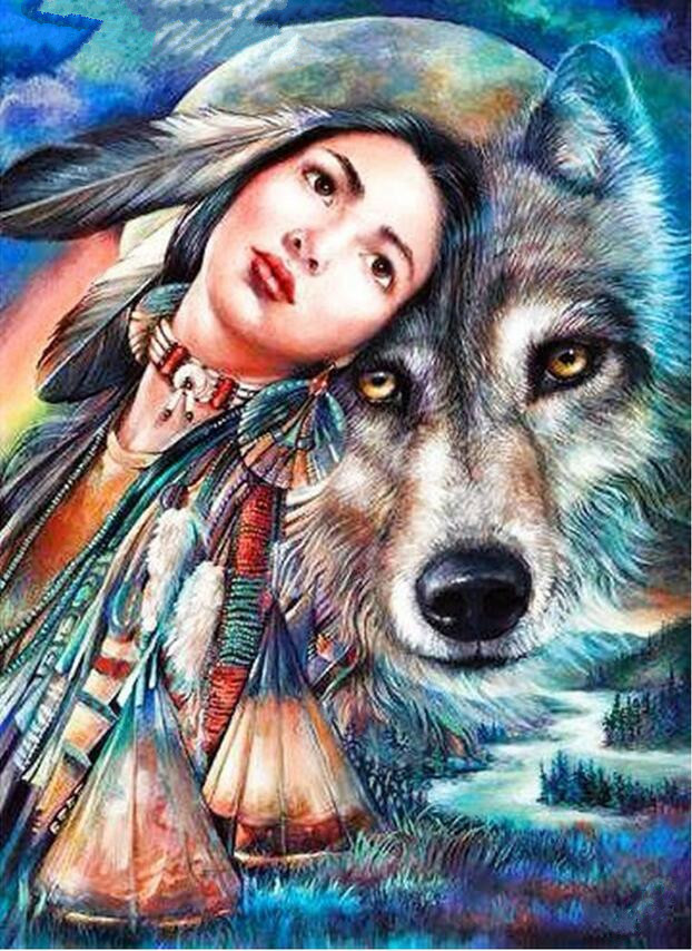 5D Diy Diamond Painting Diamond Embroidery Wolf Girl Needlework 3D Diamond painting Mosa ...