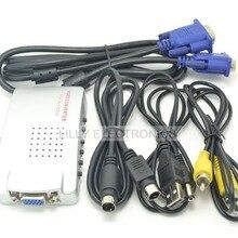 VGA к ТВ RCA Композитный S-Video Converter адаптер Box для портативных ПК компьютер