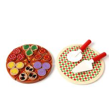 Premium Quality Wooden Pretend Play Food Pizza Set & Sticky Tab Toppings Simulation Tableware for Kids Toy Kitchen