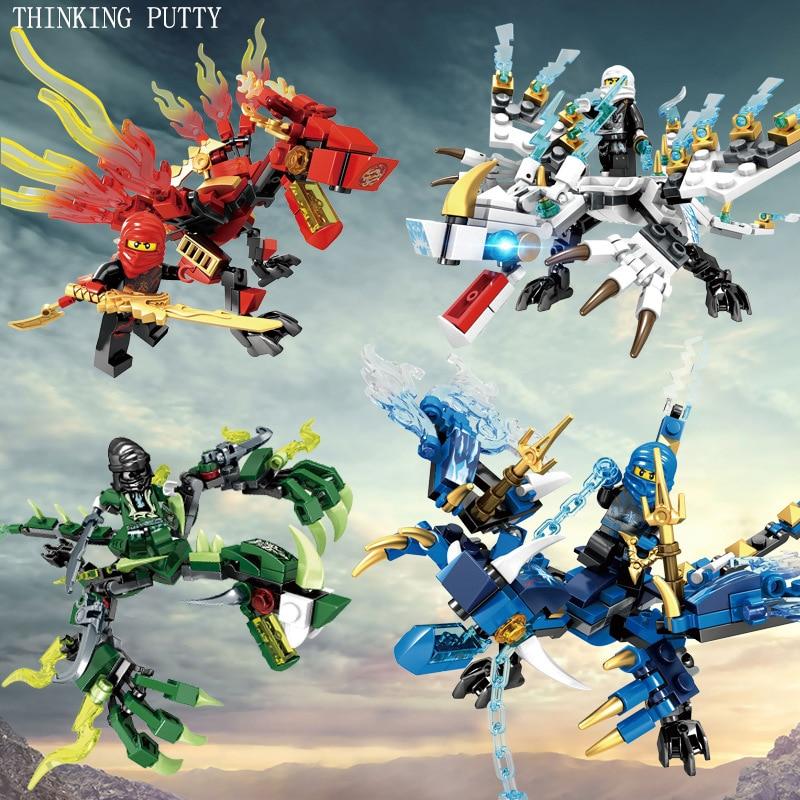 где купить 4pc/set Ninjagoes Dragon Building Blocks Compatible Legoing Ninja Bricks Mini Action B0801 Figures Enlighten Toys for Children по лучшей цене
