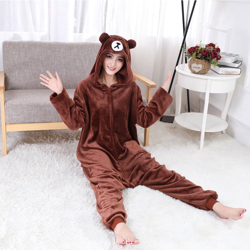 Adorable Brown Bear Kigurumi Onesie For Adults One-Piece Warm Flannel Animal Zipper Pajamas For Halloween Cosplay Party Costume (6)