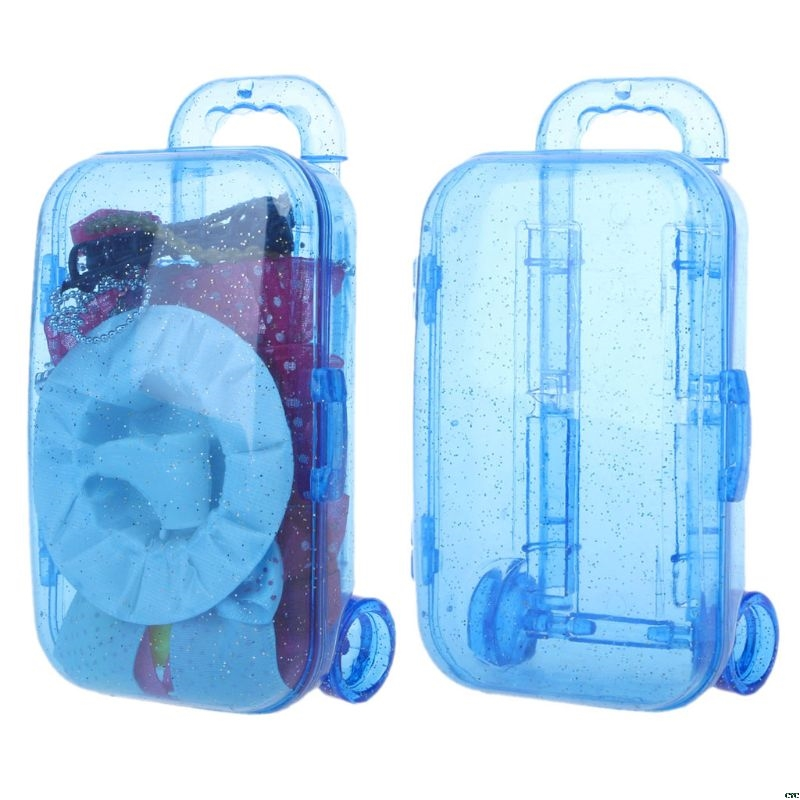 Mini Trunk Luggage Suitcase For Barbie Doll Kids Toy Dolls Accessories Candy Box Gift