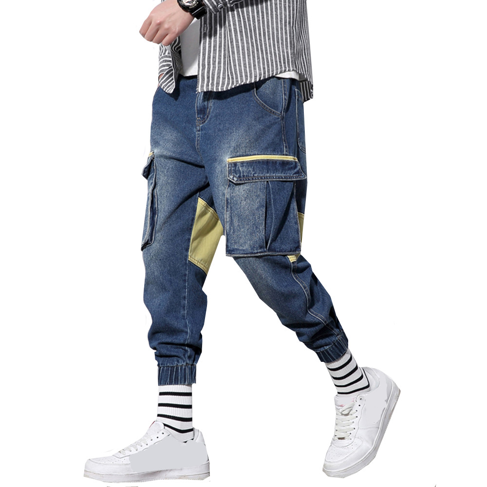 Plus size male   jeans   Loose Ankle-Length Pants Fashion Stretch male   Jeans   Denim Jogger Hip Hop Multi-pocket overalls For Men 5XL