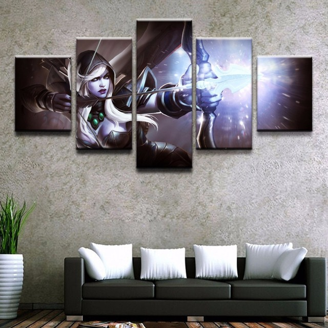 Modern Wall Art Painting 5 Panel Archer DOTA 2 Drow Ranger Game Poster Home Decor For Living Room Canvas Printed Picture Artwork 2