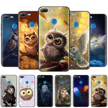 Black Silicone Case Bag Cover for Huawei Honor 10i Y7 Y6 Y5 Y9 8X 8C 8S 9 10 Lite Pro 2018 2019 Enjoy 9E 9S Cute Owls Cartoon(China)