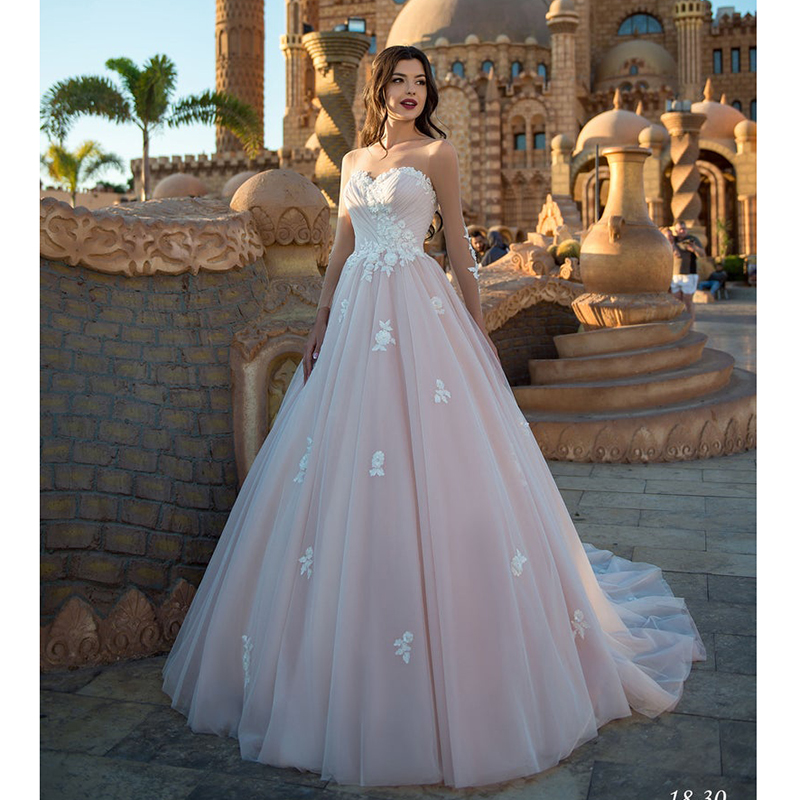 LORIE Princess Wedding Dress Long Sleeves Lace Appliqued A Line Bride Dress Illusion Sleeves Boho Wedding