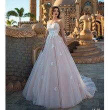 LORIE Prenses Düğün elbise uzun kollu Dantel Aplike A Line gelinlik Illusion Kollu Boho gelinlik