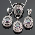 Oval Multicolor Rainbow Crystal Silver Color Jewelry Sets For Women Earrings/Necklace/Pendant/Ring Free Gift Box Made in China