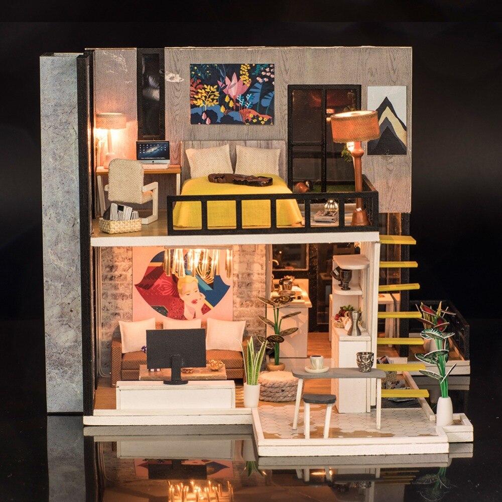 Miniaturowe zabawka puzzle DIY model domku dla lalek meble drewniane klocki zabawki dom dla LOL lalki dla dzieci prezenty urodzinowe w Domy dla lalek od Zabawki i hobby na  Grupa 3