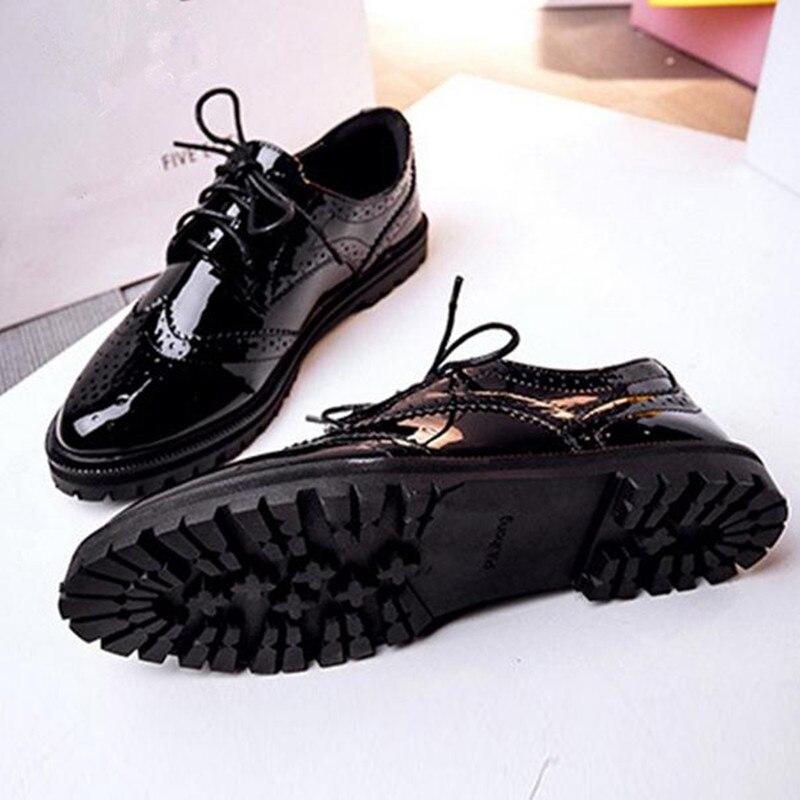 2017 de la manera simple de las mujeres talón zapatos planos de cabeza redonda tallada zapatos con cordones zapatos oxford zapatos casuales damski boty mujer obuv