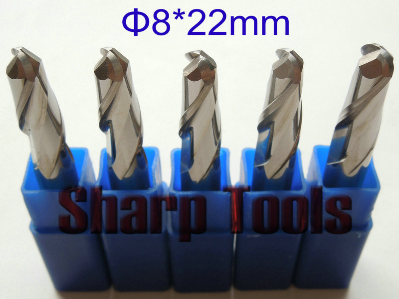 Big Shank 8x22mm 2 Flute Ball End Mill CNC Cutter Bits, Solid Carbide End Mill Set Cutter for 3D Wood Engraving Milling Router