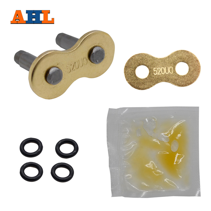 AHL Motorcycle Drive Chain O-Ring O Ring 520 Gold Chain Master Joint Links Clip for dirt bike road motor Connector lock