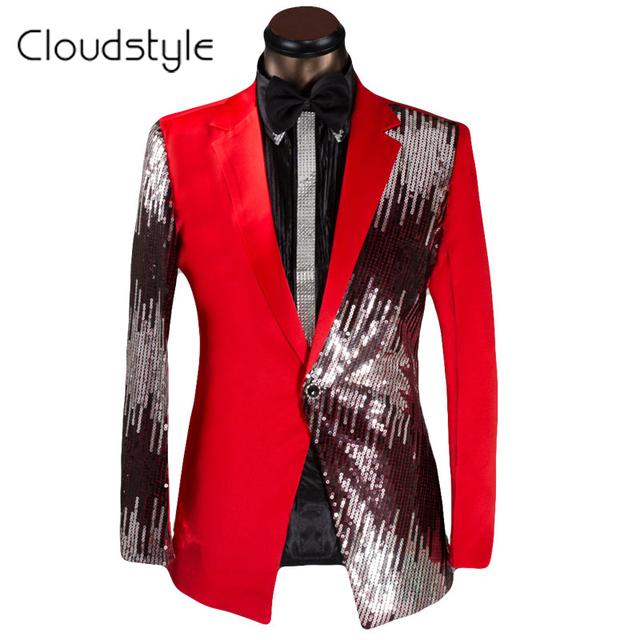 2016 Lantejoulas Prom Dresses Vestidos de Roupas de Marca Dos Homens Ternos Com Calças homens Terno Do Casamento Preto Vermelho Com Calças Terno Masculino Tamanho XS-6XL