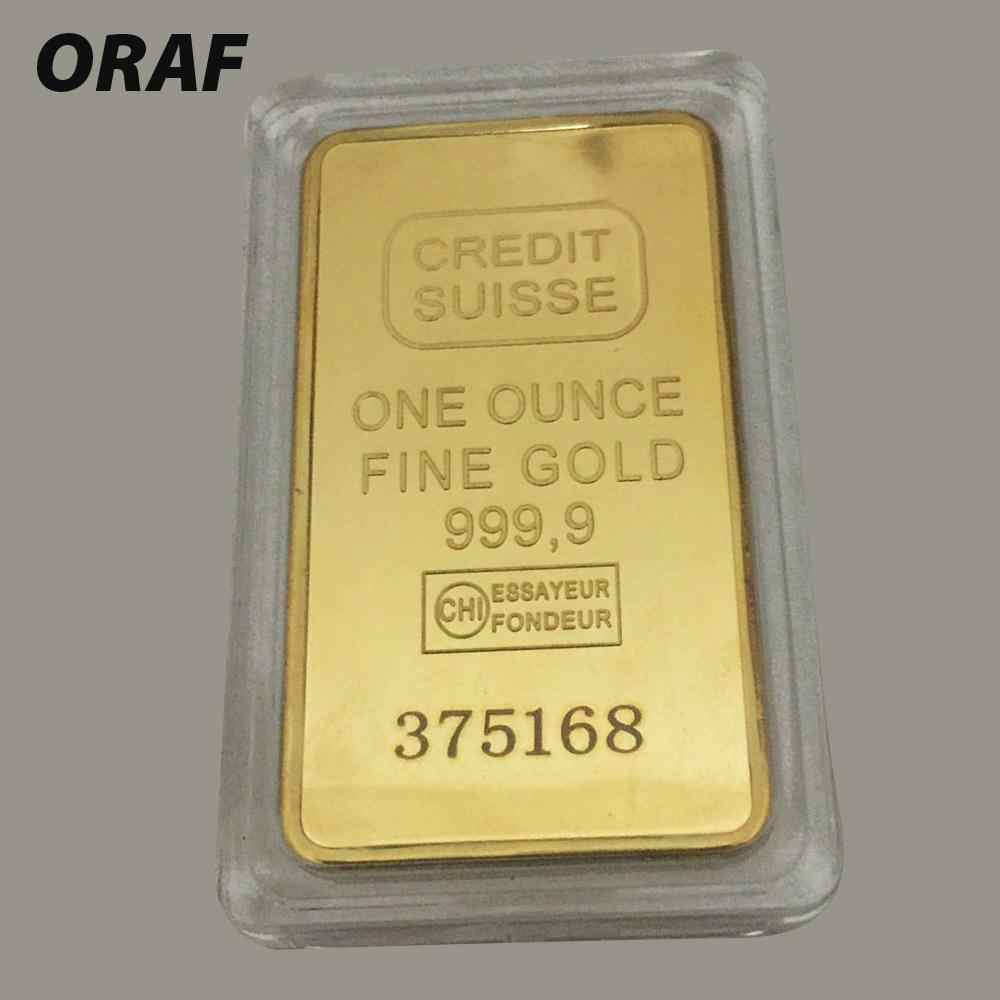 50*28MM Replica 24ct Gold Plated CREDIT Layered Bullion Bar Switzerland Credit Bullion Bar Modern Art Commemorative Coin Collect