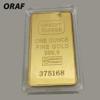 50*28MM Replica 24ct Gold Plated CREDIT Layered Bullion Bar Switzerland Credit Bullion Bar Modern Art Commemorative Coin Collect