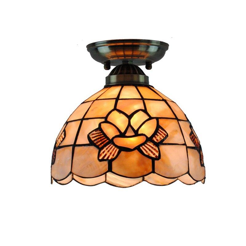 Новый потолок Тиффани светильники витражи Shell Абажур Цветы Внутреннее освещение для спальни E26/E27 заподлицо светодиодные лампы декоративны