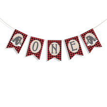 Bear ONE Banner Baby High Chair Black Lumberjack Birthday Decorations Supplies Shower Party Decor
