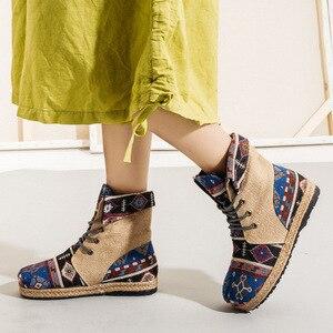 Image 3 - Veowalk Harajuku/женские льняные хлопковые короткие ботильоны с вышивкой; Удобные женские эспадрильи на плоской подошве со шнуровкой; Обувь для веганов