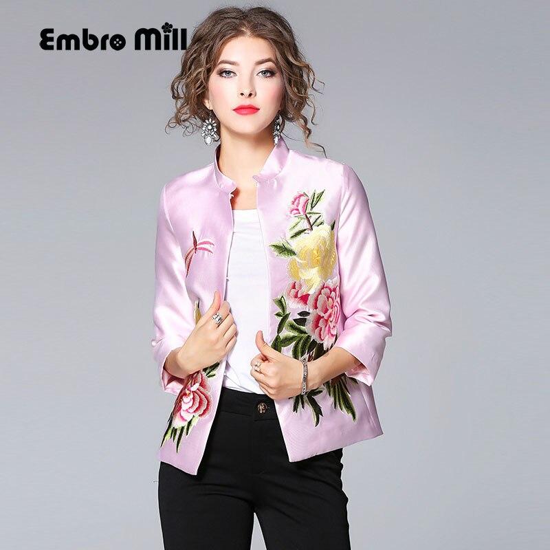 High quality women tops autumn embroidey vintage yellow floral short coat mandarin collar elegant lady casual jacket female XXL