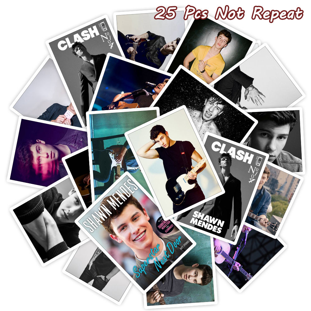 25PCS Handsome Boy Music Singer Shawn Mendes Poster Sticker For Fans Car Bicycle Luggage Laptop Phone Decal Waterproof Stickers