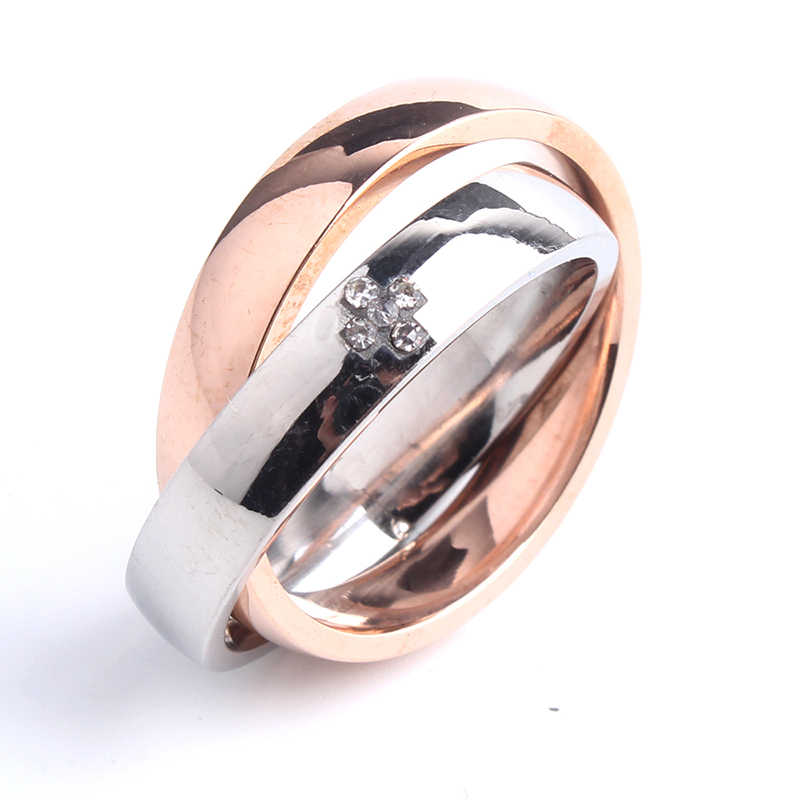 4mm rose gold and silver Double circle cross 316L Stainless Steel rings for men women wholesale